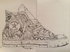 Converse Artwork #Ink #String #handstitched #Damilolaartist.com