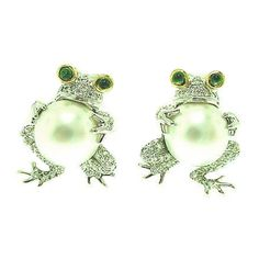 TIFFANY & CO. Pearl, Diamond, Emerald Platinum Frog Earrings