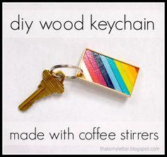 coffee stirrer keychain