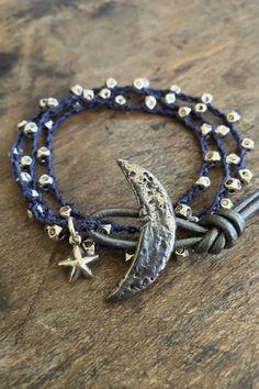 Crescent Moon Crochet Bracelet Knotted Boho by TwoSilverSisters