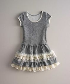girls french terry dropwaist dress - Designed for carefree days of endless play, and school days, too. She'll slip on this dropwaist knit dress and be ready to go. The neckline and sleeves have pretty lace, while lace and tulle dress up the lined skirt. Cotton-spandex. Hand wash. Girls french terry dropwaist dress is imported.