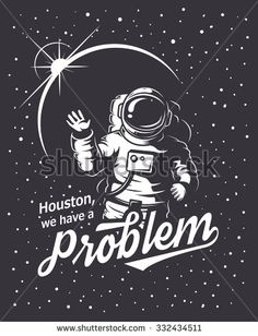 T-shirt design print. Space theme. Monochrome style - stock vector