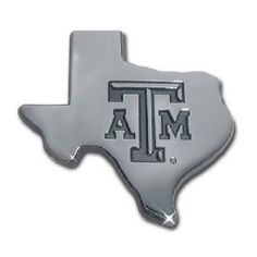 Texas A&M University, Texas State Shape Silver Debossed Logo Auto Emblem is for the NCAA Texas A&M University fan in silver chrome in the shape of the state of Texas with Texas A&M text logo.