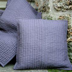 Boutis en coton uni courte pointe et couvre lit Tivoli Prune
