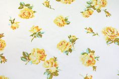 yellow roses bloom a vintage sheet fat quarter by duckyhouse, $2.50