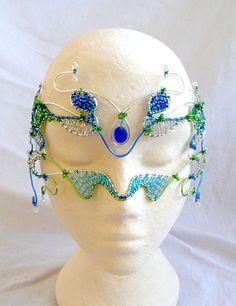 Cobalt seaglass mask handmade by gringrimaceandsqueak on Etsy