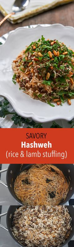 """Hashweh (lit. """"stuffing"""") is a classic Levantine dish made with ground lamb and rice, seasoned with sweet spices such as allspice, cinnamon and nutmeg."""