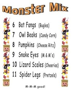 Students make individual decorated bags of fun ingredients such as owl beaks(candy corn) and pumpkins(cheese crackers) while practicing number and ...
