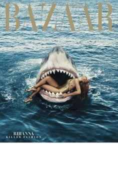 Rihanna Swimming With Sharks in Fashion Shoot - Rihanna Shark Fashion Editorial Photos