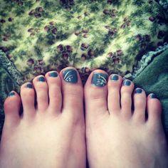 Blue toe nails! My first pedi :)