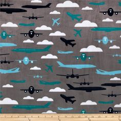 Kaufman Minky Cuddle Boys Toys Aviator Teal from @fabricdotcom  Designed by Prints & Patterns and licensed through Robert Kaufman Fabrics, this Minky Cuddle fabric has an extremely soft 3mm pile that's perfect for apparel, blankets, throws, pillows and stuffed animals. Colors include salt water blue, teal, navy and snow white on a grey background.