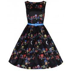 Lindy Bop Audrey Black Owls Dress