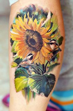 Sunlower with Finches Tattoo by Valentina Ryabova