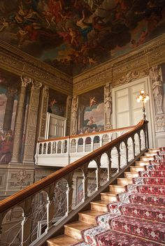 The Grand Staircase at Petworth House, Petworth, West Sussex.