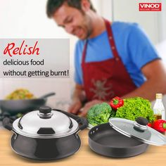 Cooking for the first time? Worried about food getting burnt? Your savior #Vinod #BlackPearlCookware range comes with stick resistant feature which doesn't allow food to stick to its surface below and lets you cook delicious varieties without getting burnt! Happy Cooking!