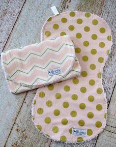 59e4e5051 Baby Girl Burp Cloth Set - Pink Gold Burp Cloth Set - Gold Polka Dot Burp  Cloth Set