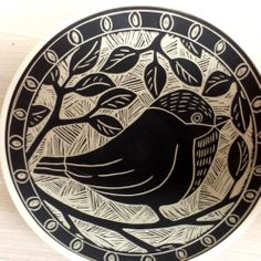 Tweet sgraffito bowl carved 3-25-2014 by Laurie Landry