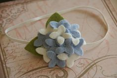 Felt Flower Headband Hydrangea Headband in Blue and White Baby Headband Toddler Headband Girls Headband. $14,99, via Etsy.
