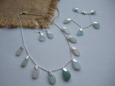 Scottish sea glass jewelry set necklace earring by TiliabytheSea