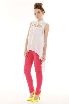 DESTROYED COLORED SKINNY JEAN $20.95