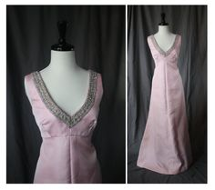 Gorgeous 1960s Shimmering Pink Heavy Satin Vintage V-Neck Evening Dress with Metallic Silver Detail - Mad Men Pinup Rockabilly Formal VLV - The Mermaid Tattoo