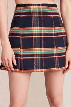 Urban Renewal Remade A-Line Plaid Skirt