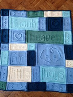 "This pattern for a crocheted blanket is an original design that is easy to complete. The blanket when finished says, ""Thank heaven for little girls."" Pattern includes instructions to customize the blanket for girls or boys."