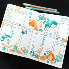 for the week of July 23 to 29 ☀️ I loved this combo of colors 😀 I . - for the week of July ☀️ I loved this color combo dessins Drawing inspiration - Bullet Journal School, Bullet Journal Headers, Bullet Journal Month, Bullet Journal Banner, Bullet Journal Writing, Bullet Journal Notebook, Bullet Journal Aesthetic, Bullet Journal Ideas Pages, Bullet Journal Spread