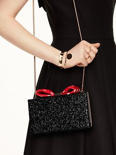kate spade new york for minnie mouse bow clasp clutch, black