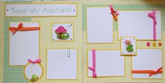 TOAD-ALLY ADORABLE 12x12 premade scrapbook pages FrOGs. $14.00, via Etsy.