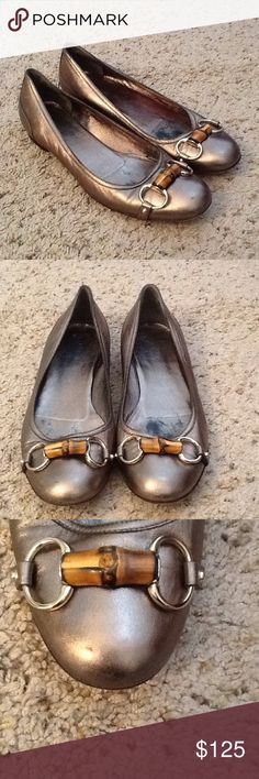 GUCCI HORSEBIT METALLIC BALLET FLATS SHOES sz 9 GUCCI sz 39.5 or US sz 9.5 Monogram brown leather ballet flats.  EXCELLENT CONDITION!  Classic and gorgeous!  So comfortable.  Will ship right away.  Check out my other designer items Gucci Shoes Flats & Loafers