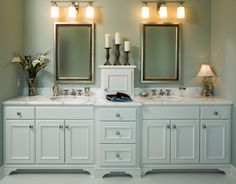 white cabinet w/marble top.  If powder room must have a toe kick, at least put feet and trim at the bottom on it