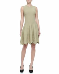 Sleeveless Embossed-Hem Dress by Alexander McQueen at Bergdorf Goodman.