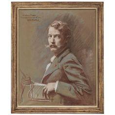 EMILE CHARLES WAUTERS (1846-1933), Self portrait, half-length | Christie's Vintage Drawing, Portrait, Drawings, Painting, Decoration, Art, Decor, Art Background, Headshot Photography