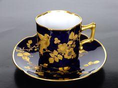 Pirkenhammer Bohemia c.1910-1920 tea cup and saucer. Floral with bird.