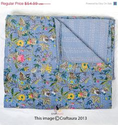 ON SALE Queen Kantha Quilt In Blue Kantha Blanket by craftauraetsy, $49.49