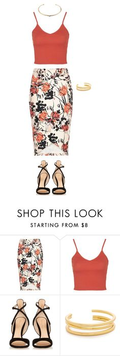 """""""#OOTD"""" by randomfashioncollections ❤ liked on Polyvore featuring Topshop, Gianvito Rossi, Madewell, Aurélie Bidermann, coral, tropical and ootd"""