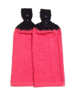 Pink Hand Towels With Black Crocheted Tops by MeAndMomsCrafts