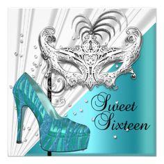 Sweet Sixteen 16 Teal Silver Masquerade Mask 2