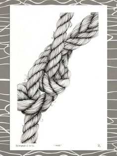 """Items similar to Original Illustration, """"moor,"""" nautical knotted rope, mooring lines on Etsy – Seil – etexture Rope Drawing, Texture Drawing, Rope Tattoo, Art Sketches, Art Drawings, Stylo Art, Negative Space Art, Arte Linear, Observational Drawing"""