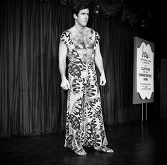 "A male model wears a silk jersey print pajama leisure suit, sandals and a necklace at a fashion show in New York, Jan. 9, 1968. The show was entitled ""Clothing for the Emancipated Man."" (AP Photo)"