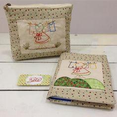 Necessaire e capa de agenda com sunbonnet bordada a mão. #patchwork #patch #quilting #quilt #quiltar - ateliedazete
