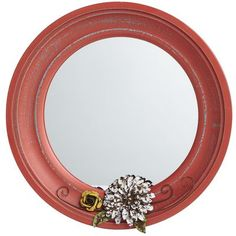 Mini Mirror with Flowers - Red