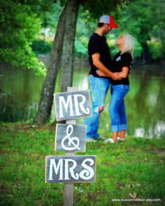Mr Mrs Signs Photo Prop Eco Wedding Decor by TRUECONNECTION, $55.00