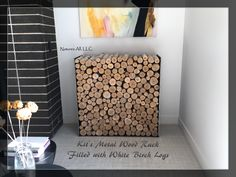 Kit's Metal Wood Rack filled with White Birch Logs in a variety of diameters! Log Wall, Birch Logs, Fireplace Logs, Wood Rack, Hdr, Fill, Menu, Quote, Space