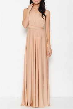 Tie It Your Way Interchangeable Maxi Dress - Nude Champagne