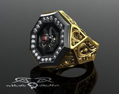 Wayward Octavian Carry on.  The Wayward mens ring is not to be trifled with. Over one inch across, studded with diamonds, and covered in more precious black rhodium gilded revolver engraving then you can shake a Peacemaker at.  This massive gents ring is crafted in solid 14kt European alloyed yellow gold, antiqued with precious black rhodium and hand finsihed with a multi-directional satin fleece finish. The iconic wayward scroll patterns that adorn this ring are three-dimensional stylized…