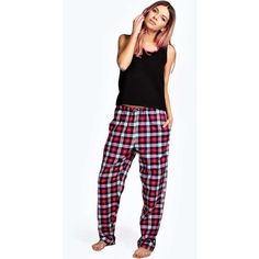 Boohoo Niamh Vest And Flannel Check Trouser Set ($18) ❤ liked on Polyvore featuring intimates, sleepwear, pajamas, pink, flannel pjs, pink pajamas, flannel sleepwear, pink pjs and flannel loungewear