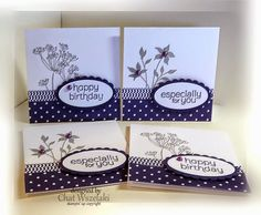 Stampin' Up! ... notecard set of 3X3's fromMe, My Stamps and I ... eggplant and sand ... silhouette flowers ... scallop oval matt ovals with sentiment ... like them!