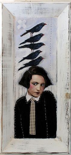 Collage in Holztablett / Das Vogelmädchen von mARTina haussmann auf DaWanda.com